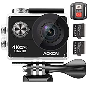 Aokon 4K WIFI Sports Action Camera 2.0 LCD Ultra HD Waterproof Underwater Cam with 2 Batteries 2.4G Remote Control 12MP 170 Wide Angle Lens and Full Accessories Kits