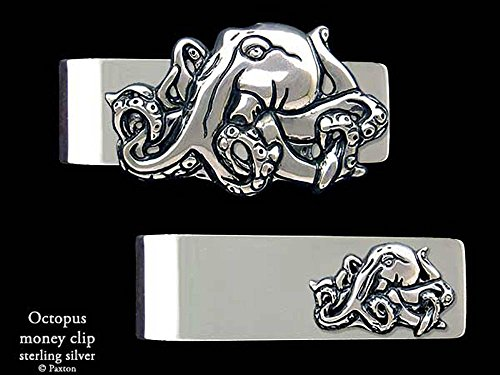 Octopus Money Clip in Solid Sterling Silver Hand Carved, Cast & Fabricated by Paxton by Paxton Jewelry
