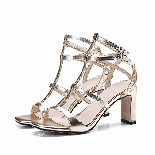 Mee Shoes Women's Party Buckle T Strap Peep Toe Block Heel Sandals Gold ucLYh64