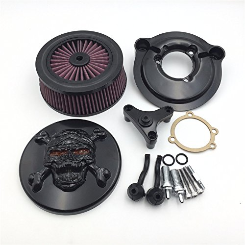(HTT Black Motorcycle Skull Zombie with Cross Bones Air Cleaner Intake Filter System Kit For Harley Davidson 2007 to later Model XL Sportster 1200 Nightster 883 XL883 Low XL1200L )
