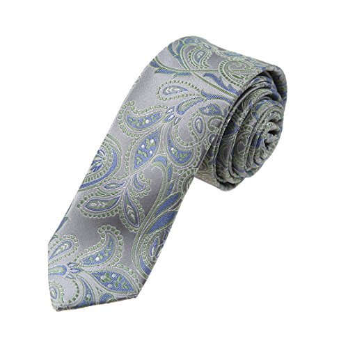 YAEB0002 Grey Green Paisley Shopstyle Gift Woven Jacquard Silk Tie Best For Designer Skinny Tie By Y&G