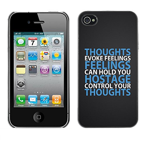 DREAMCASE Citation de Bible Coque de Protection Image Rigide Etui solide Housse T¨¦l¨¦phone Case Pour APPLE IPHONE 4 / 4S - THOUGHTS EVOKE FEELINGS