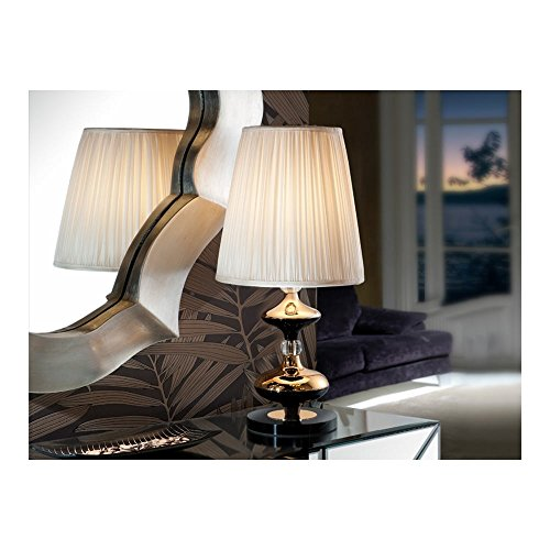 Schuller Spain 496257I4L Traditional Gold Table Lamp 1 Light Living Room, bed room, Study, Bedroom LED, White shade Gold Table Lamp | ideas4lighting by Schuller
