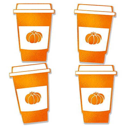 Pumpkin Spice Latte XL Cut Outs Real Foil Set of 15 for Fall Coffee Lovers Tasting Party, Pumpkin Shower Real Orange Foil