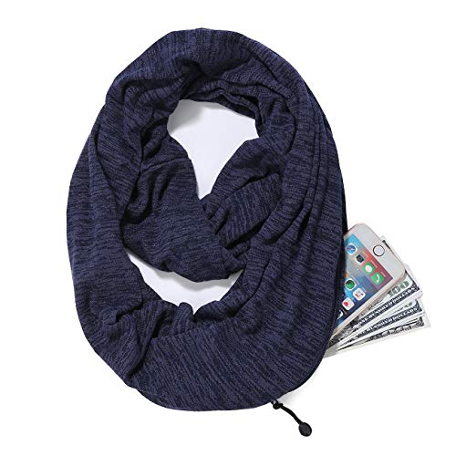 - Scarves for Women,Girls,Ladies Infinity Scarf with Zipper Pocket Soft Stretchy Lightweight Wrap (Navy)