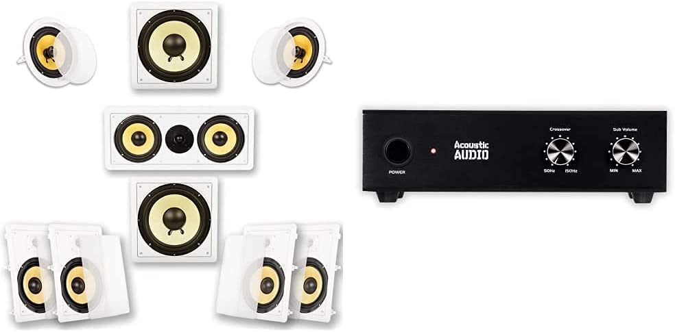 Acoustic Audio by Goldwood HD728 Flush Mount in-Wall/Ceiling Home Theater 7.2 Surround Sound 8 Inch Speakers & Acoustic Audio WS1005 Passive Subwoofer Amp 200 Watt Amplifier for Home Theater