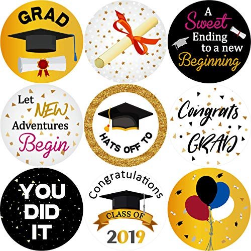 Graduation Stickers Class of 2019 Grad Party Favor Decorations 200Pcs Per Roll ()