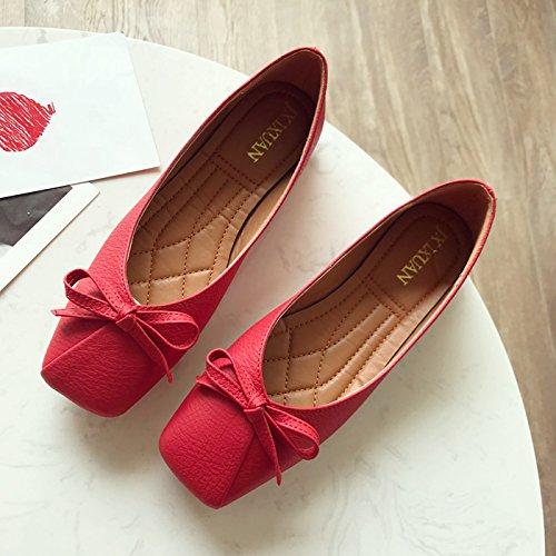Rouge En Et Kphy Dans Est D'automne La Cuir Confortable De Plat Fond Gules L'arc Square Chaussures Femmes Fort Saison Shallow Printemps qqgUf0