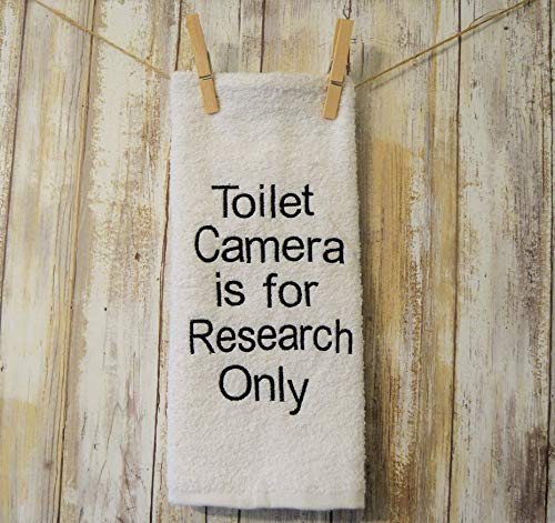 Towel Outhouses Hand - White Embroidered Bathroom Hand Towel Toilet Camera is for Research Only