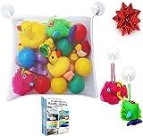 Premium Bath Toy Organizer - Large Storage Net Bag for Bathtub Toys | Bonus Heavy Duty Suction Hooks | Bonus eBook of Fun Bathtime Activities - Making Bath Time Safe and Fun for Baby Boys and Girls