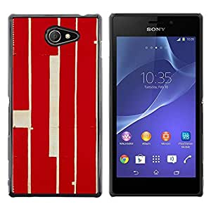 Planetar® ( Red Calligraphy Lines Retro Rustic Worn ) Sony Xperia M2 / Xperia M2 Aqua / Sony Xperia M2 Dual Fundas Cover Cubre Hard Case Cover