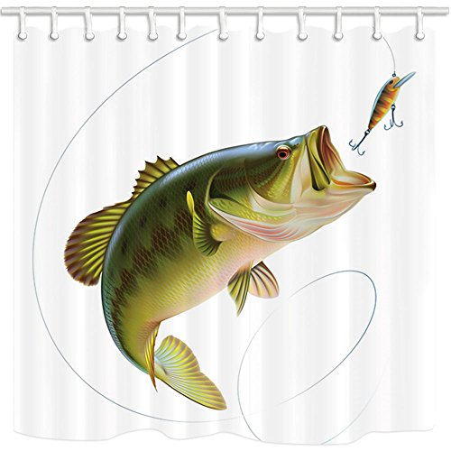 Fish Curtain - NYMB 3D Digital Printing Fishing Shower Curtain, Bait with Fishing Line Eatting Litter Fish, Mildew Resistant Polyester Fabric Bathroom Decor, Bath Curtains Hooks Included, 69X70 inches (Multi17)