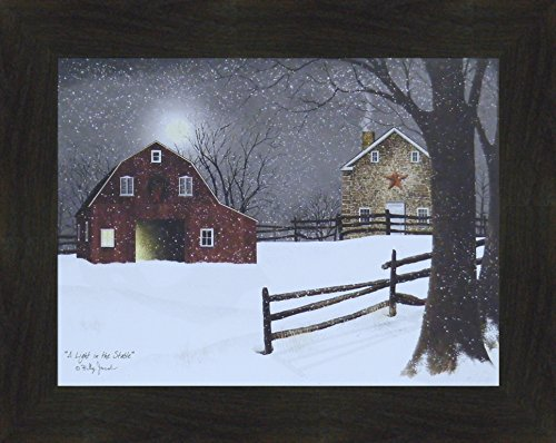 e by Billy Jacobs 16x20 Red Barn Full Moon Stone House Snow Snowing Winter Christmas Framed Folk Art Print Picture (2