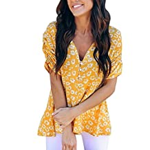 Alixyz Women's V-Neck Button T-Shirt Casual Floral Printed Pleats Sleeved Tops Blouse