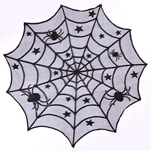 (RubyShopUU 1PCS Halloween Spider Net Lace Tablecloth for Bar KTV Creative Lace Black Spider Decor Web Round Table Covers Halloween)