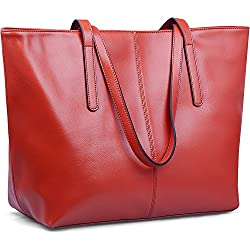 Jack&Chris Large Tote Bag Leather Shoulder Purses and Handbags on Clearance for Women, WBDZ038(Red)