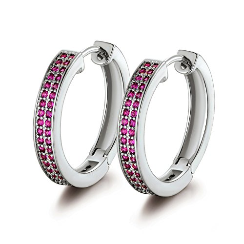 (GULICX Valentine's Gift Silver Tone Red Fuchsia Crystal CZ Huggie Earrings Hoops)