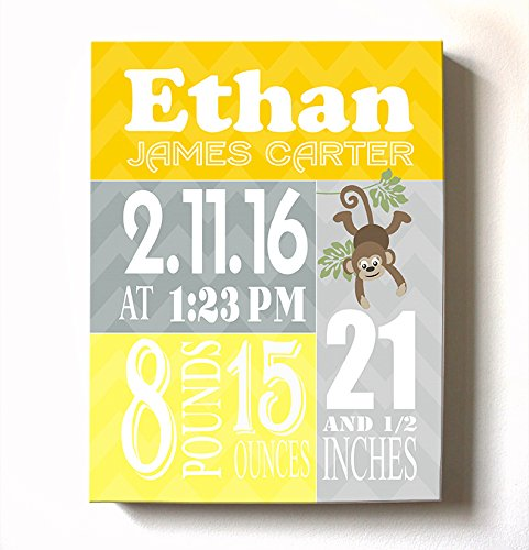 Personalized Stretched Canvas Birth Announcement Gift, Custom Baby Name, Date, Weight Stats, Newborn Nursery Monkey Wall Art Decor, 100% Wooden Frame Construction, Ready to Hang 12X16