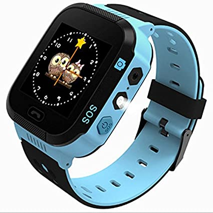 Kids Smartwatch GPS Tracker with Camera Phone Call Alarm Clock Remote Control Watch for Children Girls Boys (Blue)