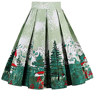 Women Vintage Pleated Skirt a Line Flared Midi Skirt WD 05