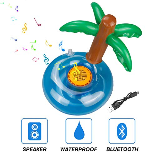 Hecloud Inflatable Swimming Pool Floats Bluetooth Speaker with Mini Air Pump for Holiday Party Pool Party ,Kids' Swim Floats Toy (Coconut Tree)