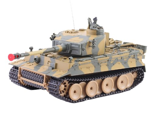 German Tiger I Battle Tank RC Sound 1/24 Model WWII Heavy Panzer with Airsoft Metal Cannon (Color may (German Cannon)