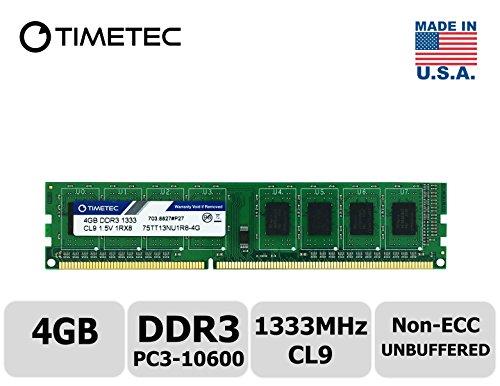 Timetec Hynix IC 4GB DDR3 1333MHz PC3-10600 Unbuffered Non-ECC 1.5V CL9 1Rx8 Single Rank 240 Pin UDIMM Desktop Memory Ram Module Upgrade (High Density 4GB) - Desktop Module