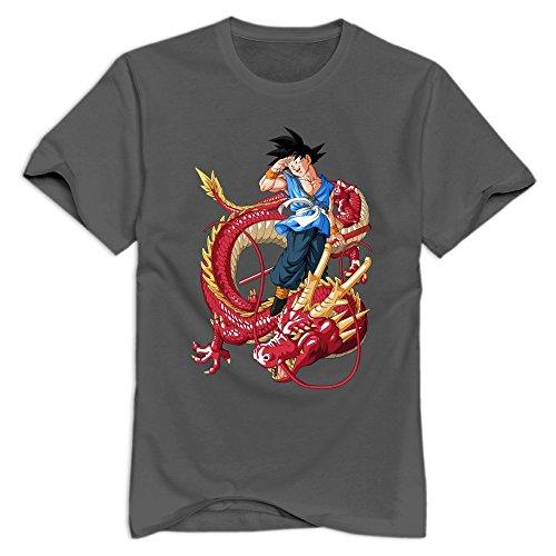 Goku Dragon Rojo Round Neck T-shirt For Man's DeepHeather M New Style T Shirts