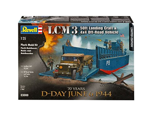 Navy Landing Craft - Revell 03000 Limited Edition - D-Day June 6 1944 - LCM3 Landing Craft with 4x4 Off Road Vehicle Model Set