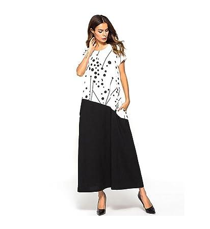 490e386859 HUAN Vestido De Manga Corta para Mujer