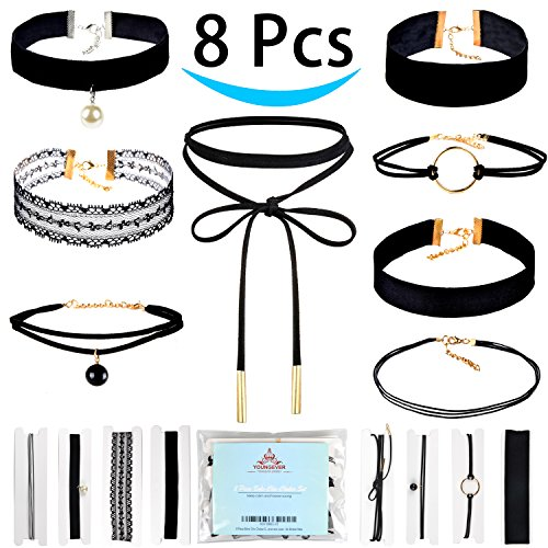 Price comparison product image 8 Piece Boho Chic Choker Set - Women and Girl - Adjustable - Leather Velvet and Lace - No Broken