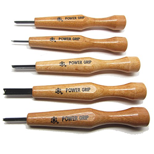Japanese Power Grip V & U Chisel Tool Set Best for Wood-Carving Wood-Working Detail Chipping Whittling (5 Piece Set)