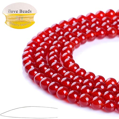 ILVBD Natural Round Red Agate Gemstone Beads 4/6/8/10/12MM for DIY Jewelry Bracelet Making Bulk (Red Agate, 8MM)