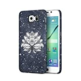 Henna White Lotus Blossom White Ink Splash Hard Plastic Phone Case For Samsung Galaxy S6