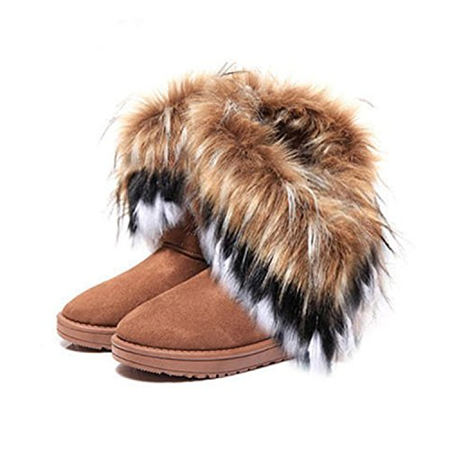 Brown Boots Fur Shoes Warm Women Female Flock Better Snow Winter Boots Toe Flat Shoes Snow Ankle Women Round Annie Leather X5zPnH