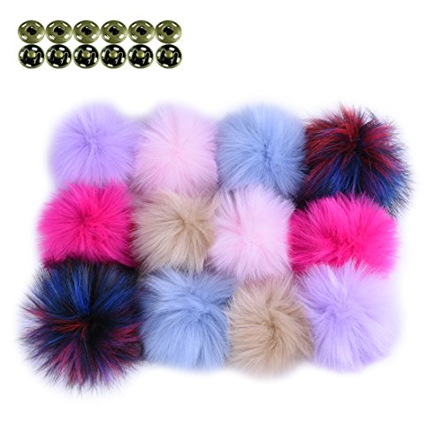 JINSEY 12pcs Faux Fake Fox Fur Fluffy Pom Pom Balls with Snap for Knitting Pompom Hat Hats Keychains Purse Charms Craft Making Supply Colorful