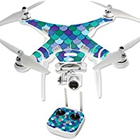 MightySkins Protective Vinyl Skin Decal for DJI Phantom 3 Professional Quadcopter Drone wrap cover sticker skins Blue Scales