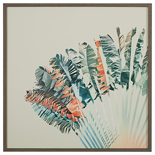 Modern Turquoise and Orange Feather Print in Grey Frame, 30'' x 30'' by Stone & Beam