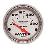 AutoMeter 200762-35 Marine Electric Water Temperature Gauge 2-1/16 in. Silver Dial Face Chrome Bezel Fluorescent Red Pointer White Incandescent Lighting Air Core 100-250 Degree F Marine Electric Water Temperature Gauge