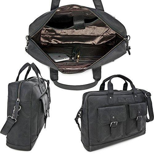 Robuste Aktentasche aus Leder, Lehrertasche Leder mit Laptopfach bis 15 Zoll DIN A4 Laptoptasche Damen aus Leder, Notebooktasche Herren Leder, Ledertasche von URBAN FOREST, Farbe:Schwarz Schwarz