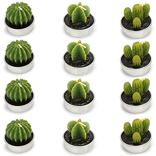 Ogrmar 12 PCS Cactus Candles Decorative Tea Light Candles for Home Party Birthday Wedding Decoration 3 Styles (Green) -