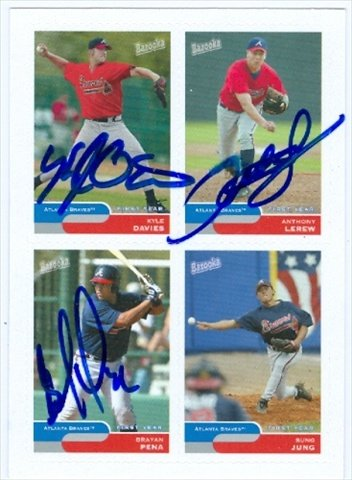 Autograph Warehouse 31039 Kyle Davies Anthony Lerew Brayan Pena Autographed Baseball Card 2004 Topps Bazooka Baseball Card