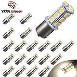 YITAMOTOR 1156 BA15S 1141 1003 18-SMD LED Car RV Camper Interior Bulb Tail Backup Reverse LED Lights 5000K Light-Warm White (Pack of 20)