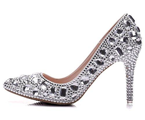 Pie Zapatillas Señoras Corte Mujer Eur Zapatos Nvxie Dedo Nupcial Talones 40 Silver Paseo 7 Puntiagudo Del Rhinestones Superficial uk eur41uk758 Cristal Noche Boda Alto 64qZw5p5x