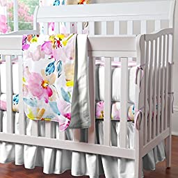 Carousel Designs Solid Antique White Mini Crib Skirt Gathered