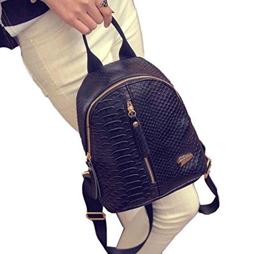Creazy Women Leather Backpacks Schoolbags Travel Shoulder Bag (Black)