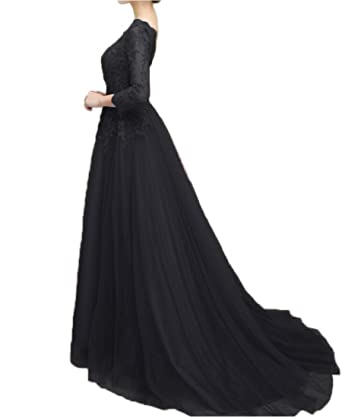 Beilite Womens Long Sleeves Appliques Evening Dresses A Line Tulle Formal Party Gown Black 2