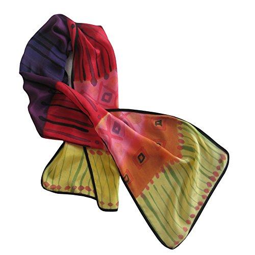 (ArtisanStreet's Festive Colors Silk Crepe de Chine Hand Painted)