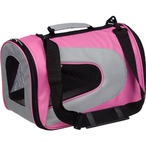 Pet Life Folding Zippered Sporty Mesh Carrier in Pink and Cream – Medium, My Pet Supplies