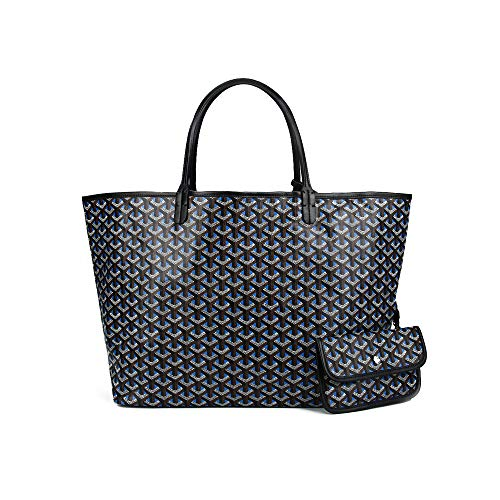 Stylesty Fashion Shopping PU Tote Bag, Designer Shoulder Handbags with Key Ring ... (Large, Navy Blue)